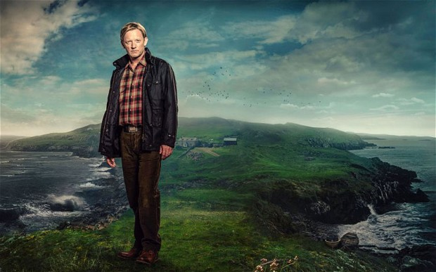Ooh, look at him. Solving murders. On a headland. In plaid.